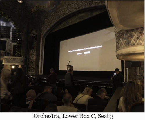 Orchestra, Lower Box C, Seat 3